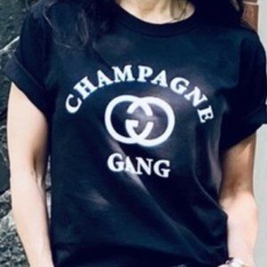 Champagne Gang NEW Black Graphic T-Shirt